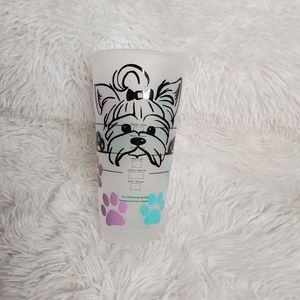Starbucks cold cup with Yorkie puppy decal